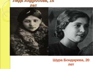 Лида Андросова, 18 лет Шура Бондарева, 20 лет