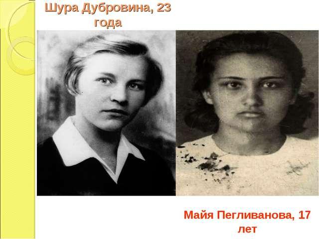 Шура Дубровина, 23 года Майя Пегливанова, 17 лет