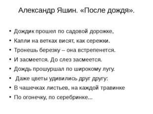 Александр Яшин. «После дождя». Дождик прошел по садовой дорожке, Капли на вет