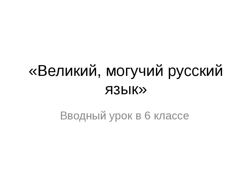 «Великий, могучий русский язык» Вводный урок в 6 классе