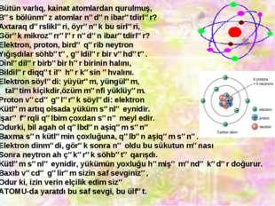 Bütün varlıq, kainat atomlardan qurulmuş, Bəs bölünməz atomlar nədən ibarətdi