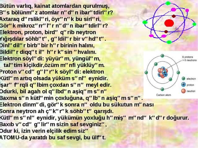 Bütün varlıq, kainat atomlardan qurulmuş, Bəs bölünməz atomlar nədən ibarətdi...