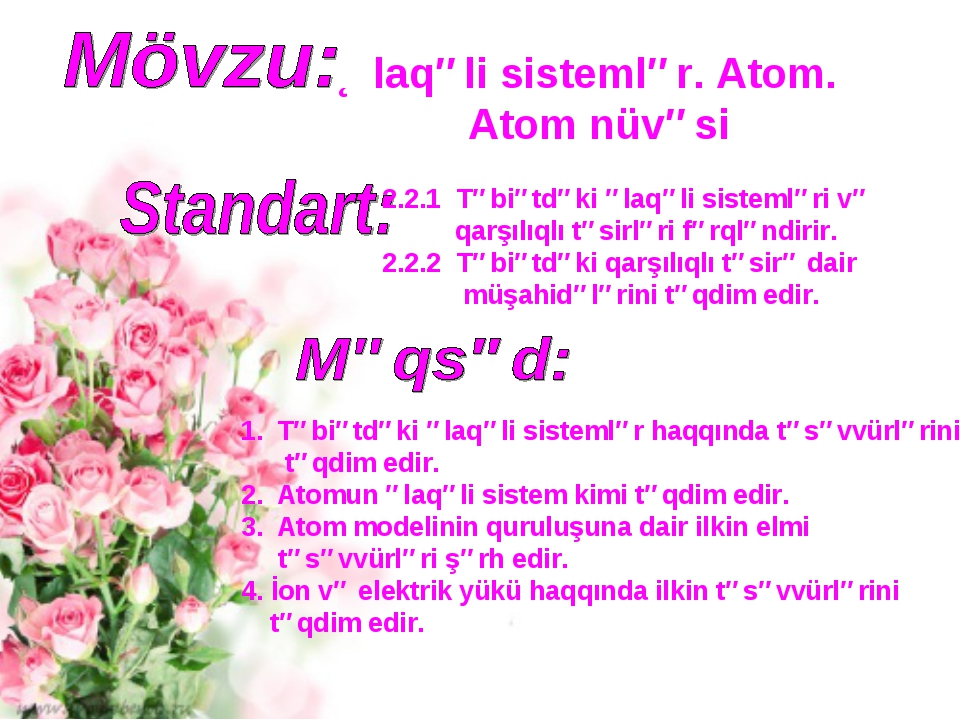 Əlaqəli sistemlər. Atom. Atom nüvəsi 2.2.1 Təbiətdəki əlaqəli sistemləri və q...