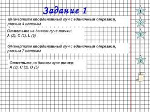 Задание 1 а)Начертите координатный луч с единичным отрезком, равным 4 клеткам