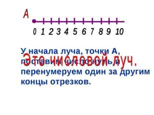 У начала луча, точки А, поставим число нуль и перенумеруем один за другим кон