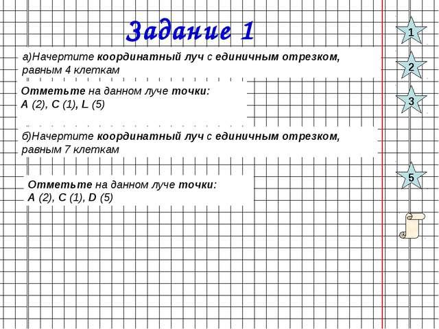Задание 1 а)Начертите координатный луч с единичным отрезком, равным 4 клеткам...