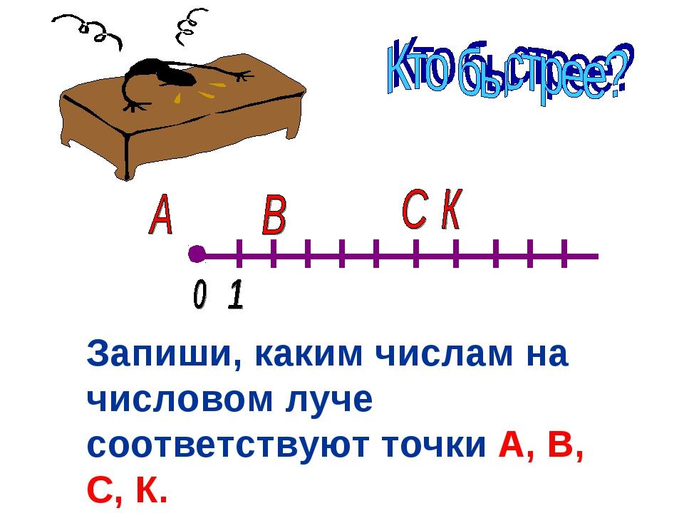 Запиши, каким числам на числовом луче соответствуют точки А, В, С, К.