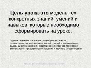 Мусаева З.Р., заместитель директора по УВР Цель урока-это модель тех конкрет