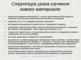 Мусаева З.Р., заместитель директора по УВР Структура урока изучения нового м