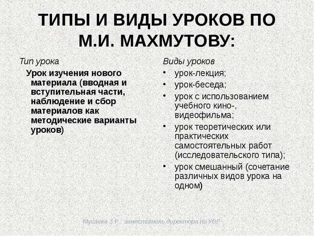 Мусаева З.Р., заместитель директора по УВР ТИПЫ И ВИДЫ УРОКОВ ПО М.И. МАХМУТ...