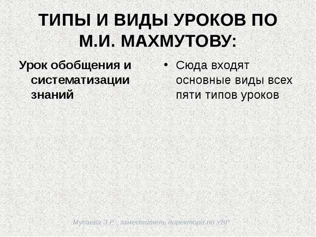 Мусаева З.Р., заместитель директора по УВР ТИПЫ И ВИДЫ УРОКОВ ПО М.И. МАХМУТО...