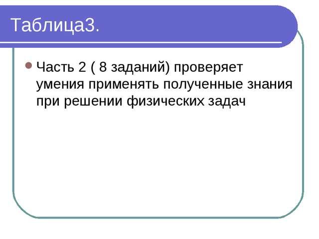 Таблица3. Часть 2 ( 8 заданий) проверяет умения применять полученные знания п...