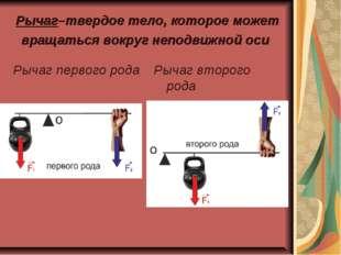Рычаг–твердое тело, которое может вращаться вокруг неподвижной оси Рычаг перв