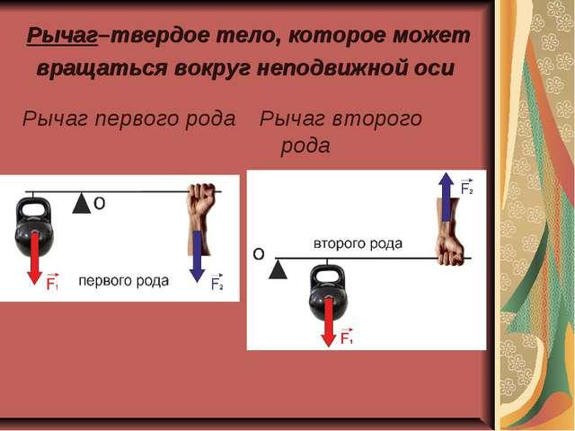 Рычаг–твердое тело, которое может вращаться вокруг неподвижной оси Рычаг перв...
