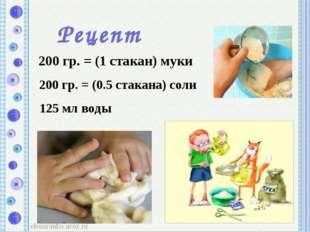Рецепт 200 гр. = (1 стакан) муки 200 гр. = (0.5 стакана) соли 125 мл воды