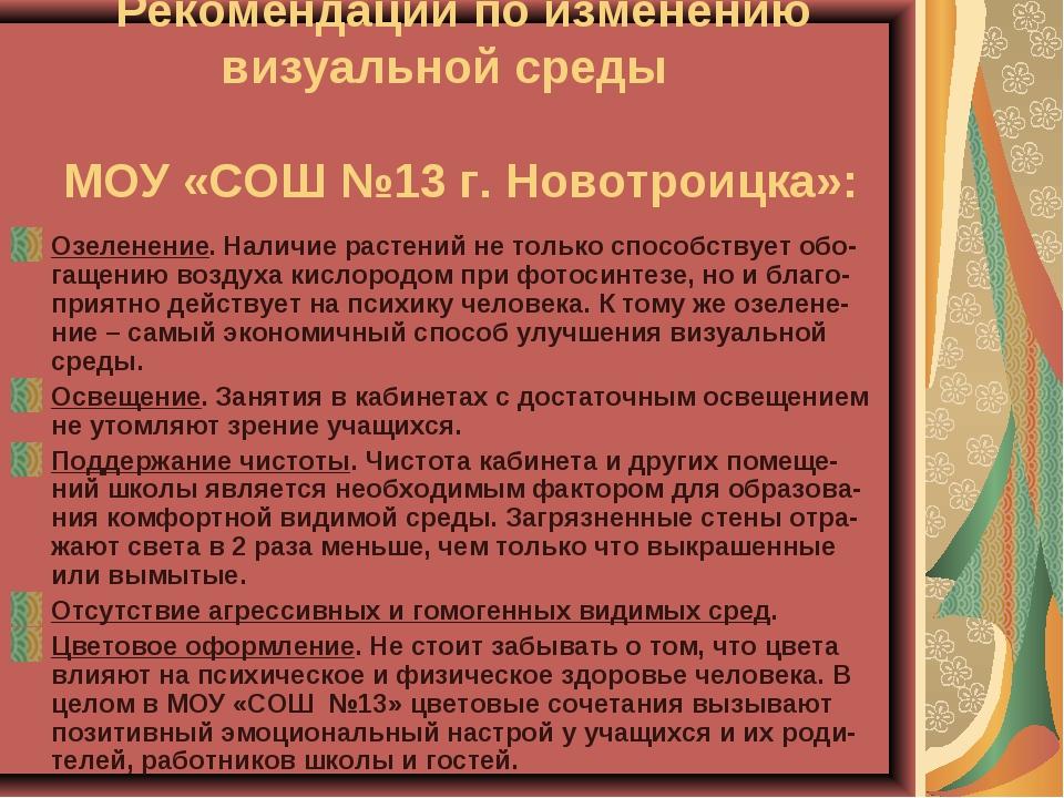 Рекомендации по изменению визуальной среды МОУ «СОШ №13 г. Новотроицка»: Озе...