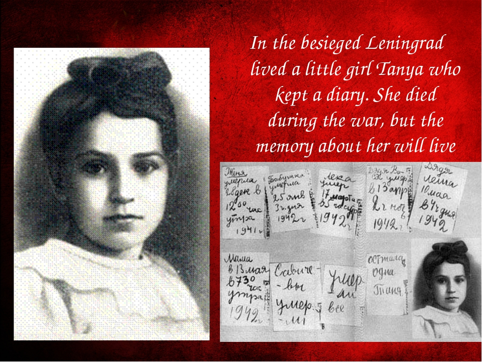 In the besieged Leningrad lived a little girl Tanya who kept a diary. She die...