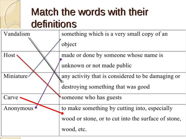 Match the words with their definitions