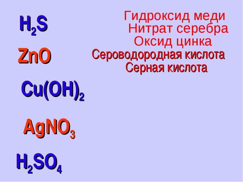 H2S H2SO4 ZnO Cu(OH)2 AgNO3 Серная кислота Сероводородная кислота Оксид цинка...