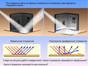При падении света на разные поверхности возможны два варианта отражения свет