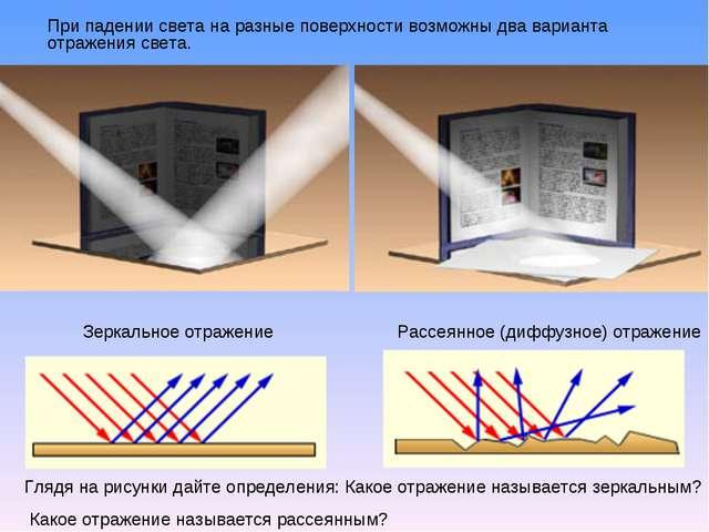 При падении света на разные поверхности возможны два варианта отражения свет...