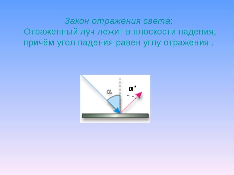 Закон отражения света: Отраженный луч лежит в плоскости падения, причём угол...