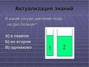 Актуализация знаний В каком сосуде давление воды на дно больше? А) в первом Б