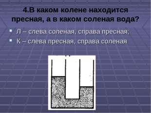 4.В каком колене находится пресная, а в каком соленая вода? Л – слева соленая