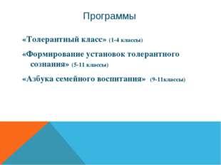 Программы «Толерантный класс» (1-4 классы) «Формирование установок толерантно