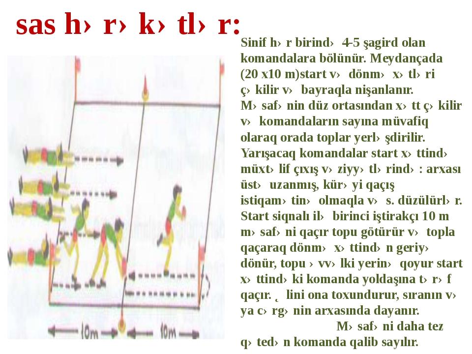 Sinif hər birində 4-5 şagird olan komandalara bölünür. Meydançada (20 x10 m)s...