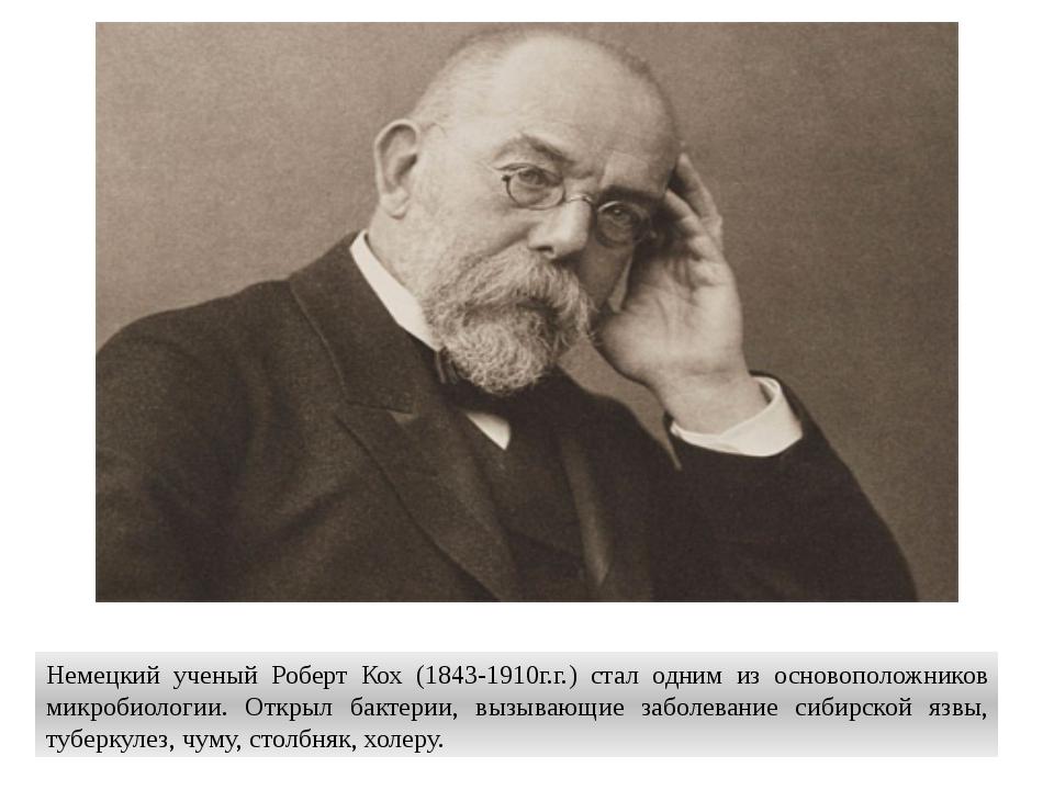 Немецкий ученый Роберт Кох (1843-1910г.г.) стал одним из основоположников мик...