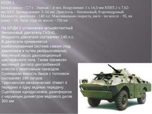 БРДМ-2 Боевая масса – 7,7 т . Экипаж – 4 чел. Вооружение: 1 х 14,5-мм КПВТ,1