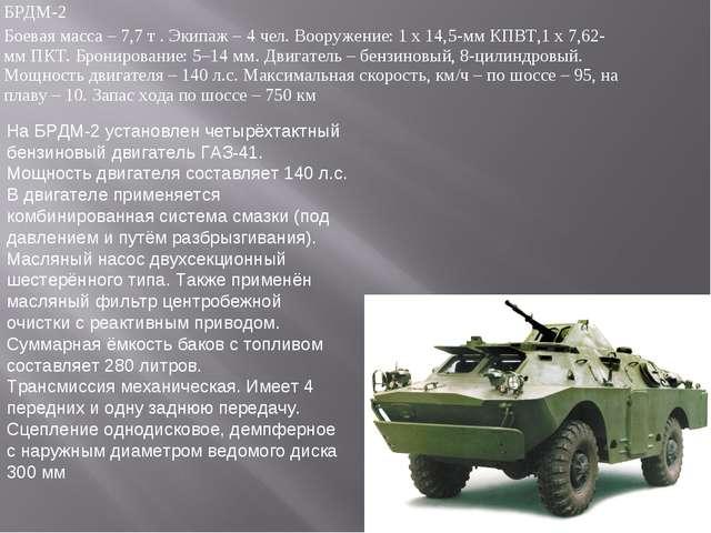 БРДМ-2 Боевая масса – 7,7 т . Экипаж – 4 чел. Вооружение: 1 х 14,5-мм КПВТ,1...