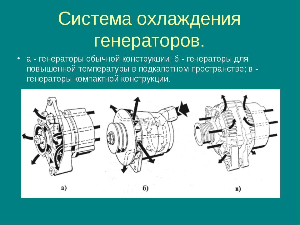 Система охлаждения генераторов. а - генераторы обычной конструкции; б - генер...