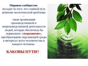 Мировое сообщество исходит из того, что главный путь решения экологической пр