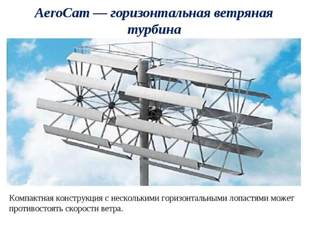 AeroCam — горизонтальная ветряная турбина Компактная конструкция с нескольким...