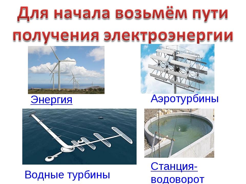 Энергия ветра Аэротурбины Водные турбины Станция-водоворот
