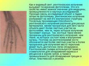 Как и видимый свет, рентгеновское излучение вызывает почернение фотопленки.