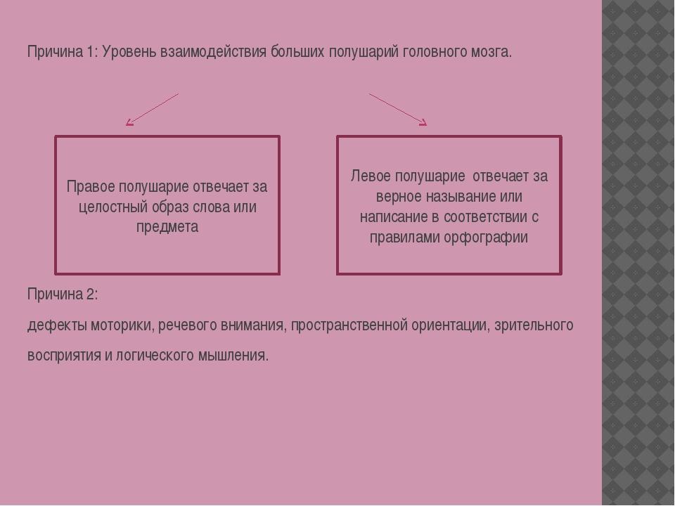 Причина 1: Уровень взаимодействия больших полушарий головного мозга. Причина...