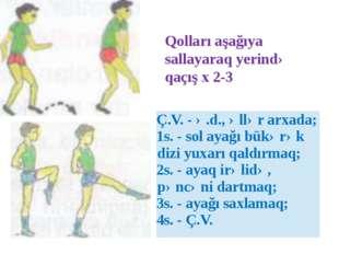 Qolları aşağıya sallayaraq yerində qaçış x 2-3 Ç.V. -ə.d., əllər arxada; 1s.