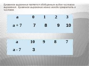 Буквенное выражение является обобщенным видом числового выражения. Буквенное