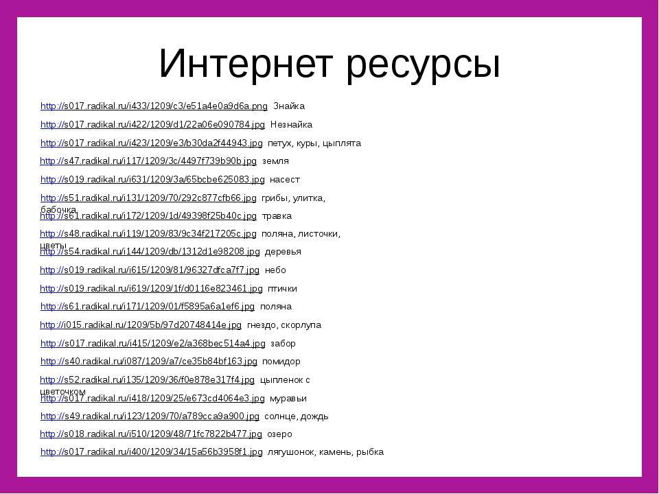 Интернет ресурсы http://s017.radikal.ru/i433/1209/c3/e51a4e0a9d6a.png Знайка...