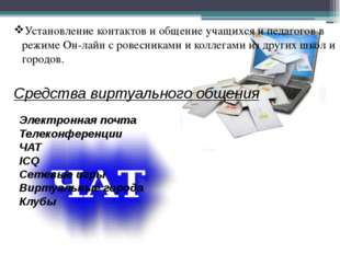 Установление контактов и общение учащихся и педагогов в режиме Он-лайн с рове