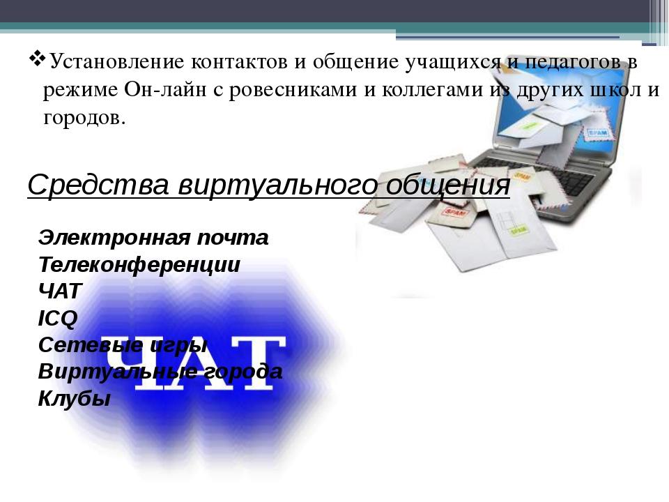 Установление контактов и общение учащихся и педагогов в режиме Он-лайн с рове...