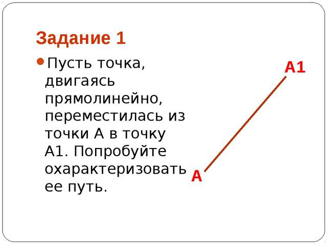 Задание 1 Пусть точка, двигаясь прямолинейно, переместилась из точки А в точк...