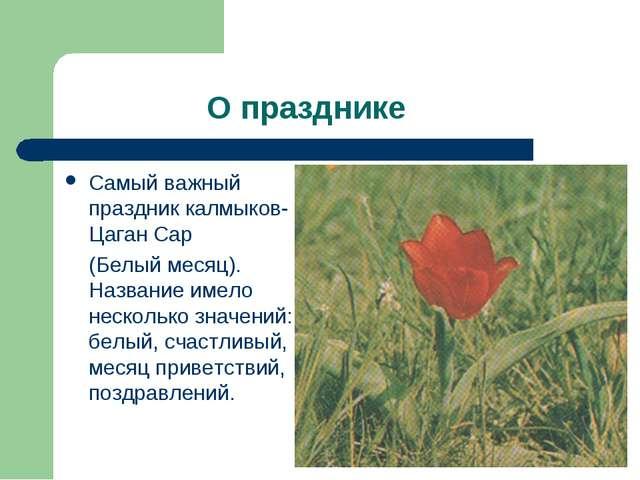 О празднике Самый важный праздник калмыков- Цаган Сар (Белый месяц). Названи...