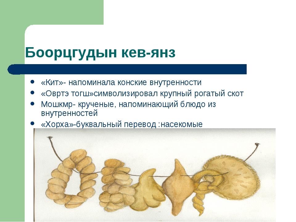 Боорцгудын кев-янз «Кит»- напоминала конские внутренности «Овртэ тогш»символи...