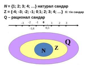 N = {1; 2; 3; 4; …} натурал сандар Z = {-4; -3; -2; -1; 0;1; 2; 3; 4; …} бүті