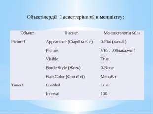 Код терезесінде процедуралар құру: Private Sub Picture1_Click() Picture1.Visi