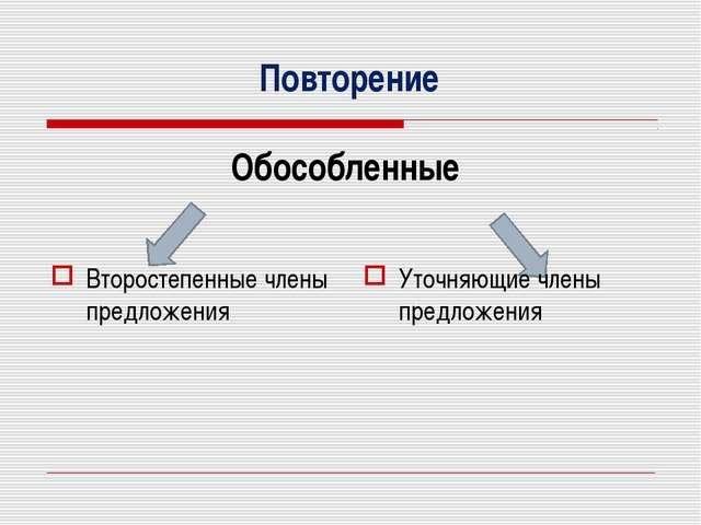 Повторение Обособленные Второстепенные члены предложения Уточняющие члены пр...
